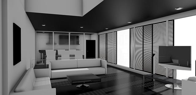obývací pokoj je má zabudované podél stropu