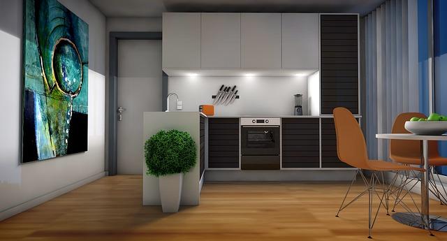 bodová světla zabudovaná pod kuchyňskými dvířky a osvěcují pracovní plochu