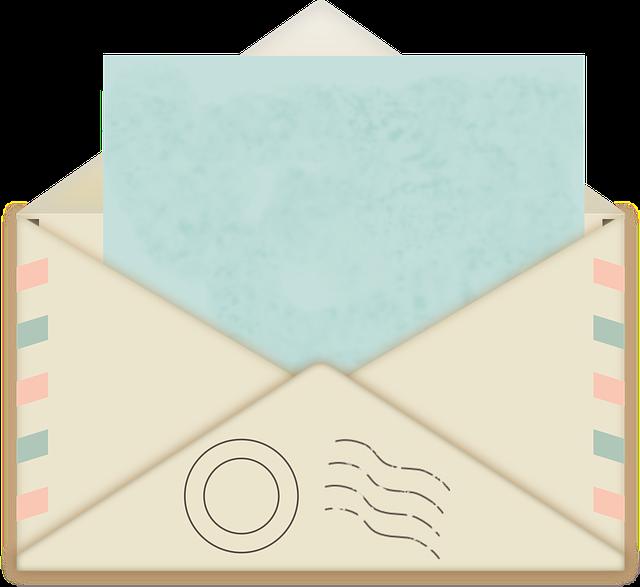 obálka s modrým papírem